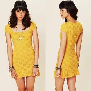 Free People Daisy Godet Mustard Lace Mini Dress